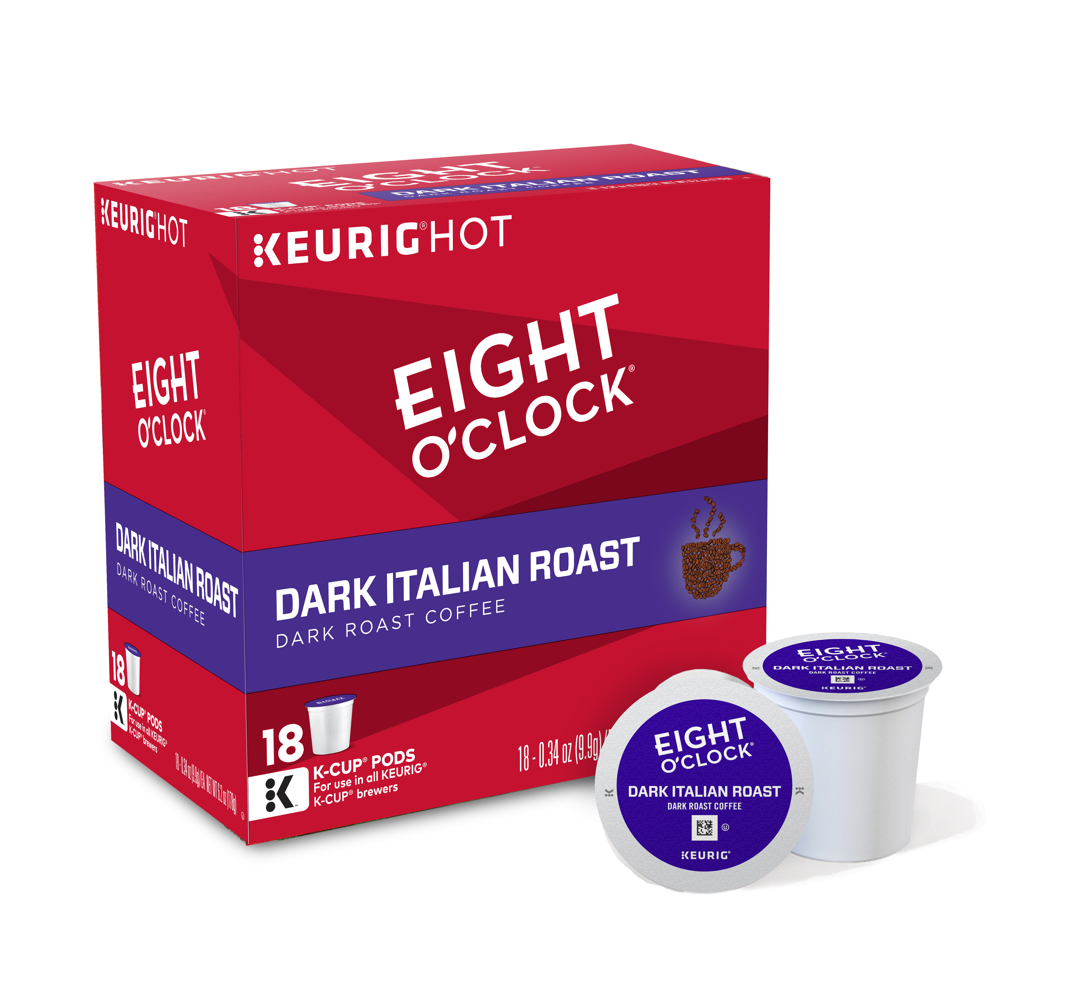 Eight O'Clock Coffee Dark Italian Roast Keurig Single-Serve K-Cup Pods, Dark Roast