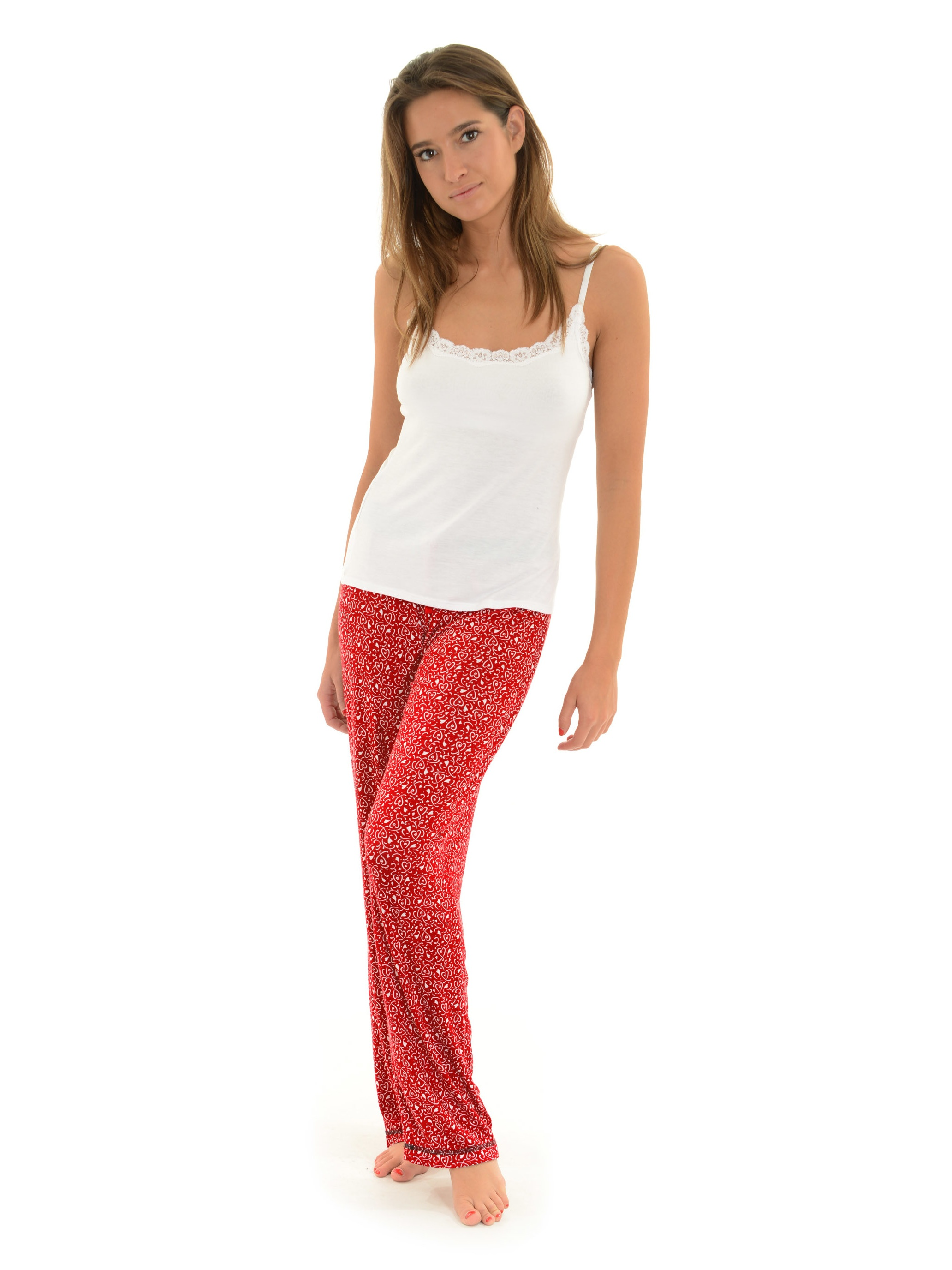 2a668dd46a Int Intimates - Womens Red Pajama Pants and White Lace Cami Top 2 Piece  Sleepwear Set Hearts - Walmart.com