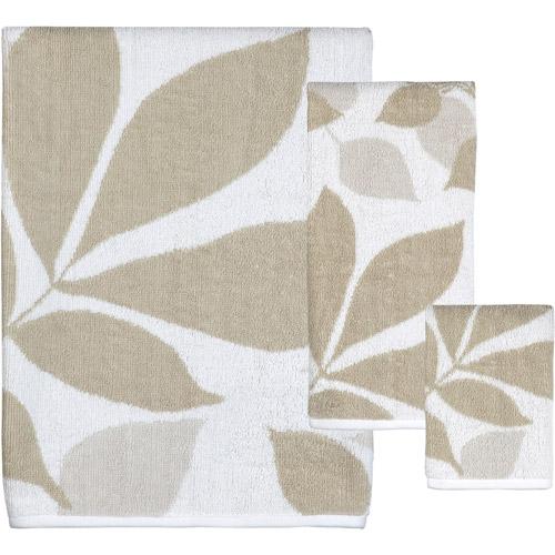 Shadow Leaves 3pc Bath Towel Set, Natural/Brown