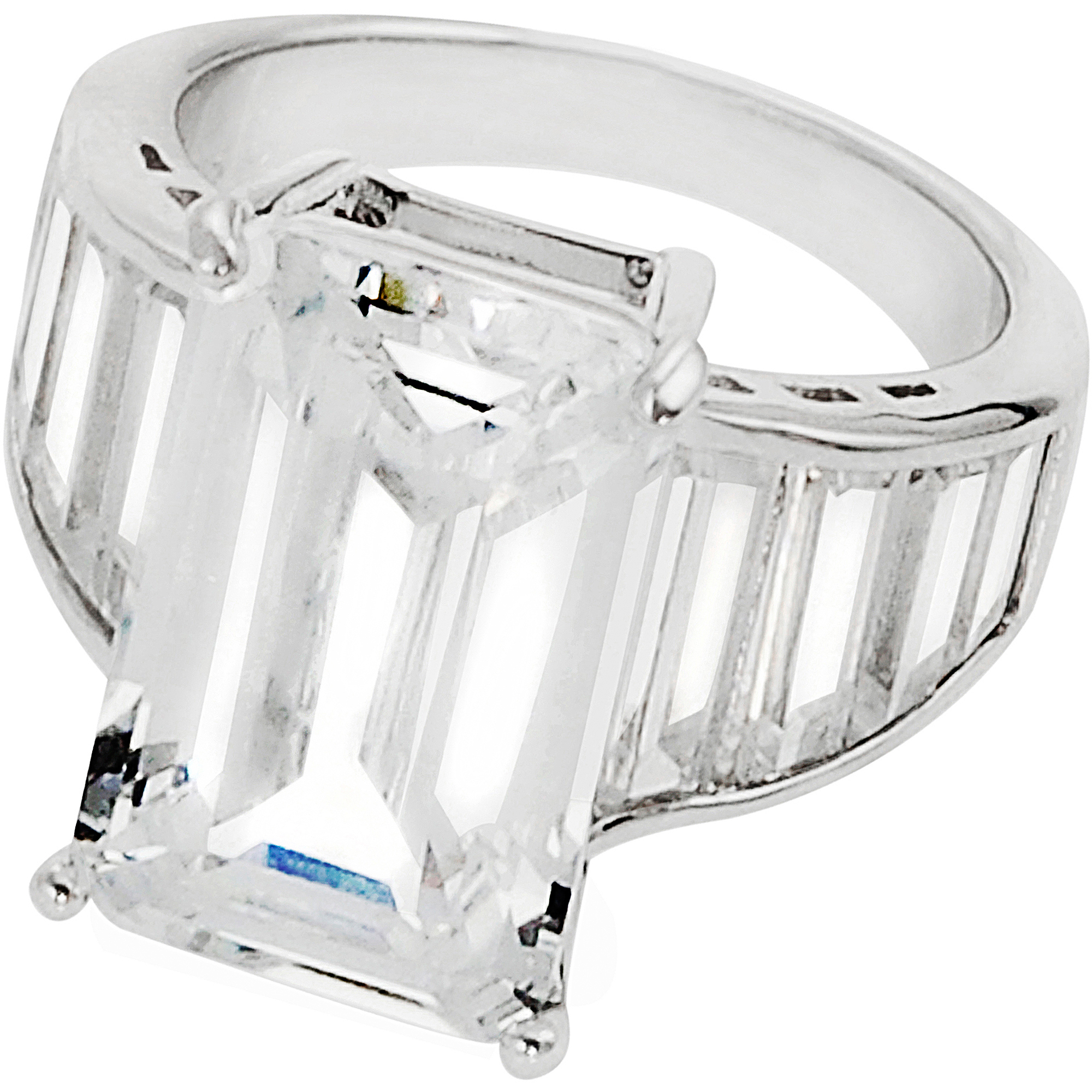 Alexandria Collection Sterling Silver Cubic Zirconia Celebrity Inspired Bridal Ring