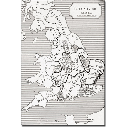 Trademark Art 'Map of Britain in 634' Canvas Art