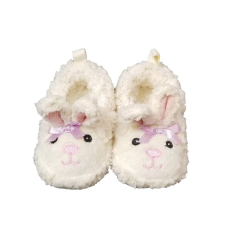 Infant Girls White Fuzzy Bunny Slippers House Shoe Baby Crib Shoe