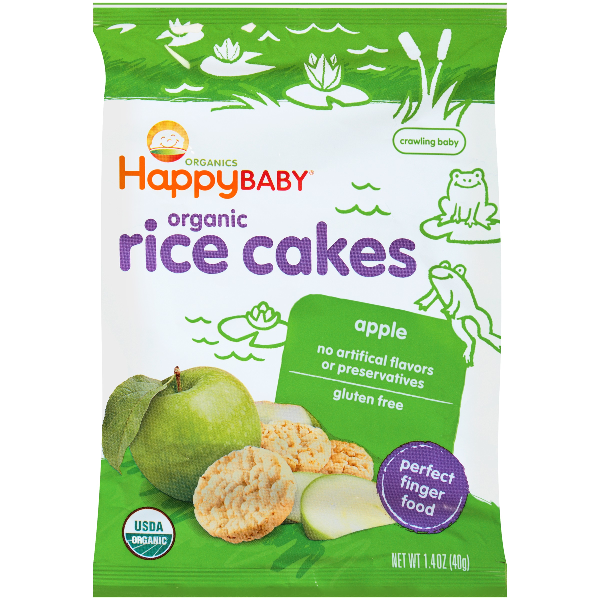 Happy Baby Rice Cakes, Organic Baby Food, Apple 1.4oz bag by Happy Family