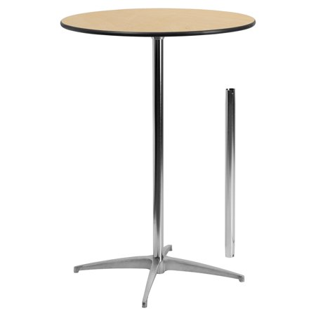 Rectangular Storage Cocktail Table - Flash Furniture 30'' Round Wood Cocktail Table with 30'' and 42'' Columns
