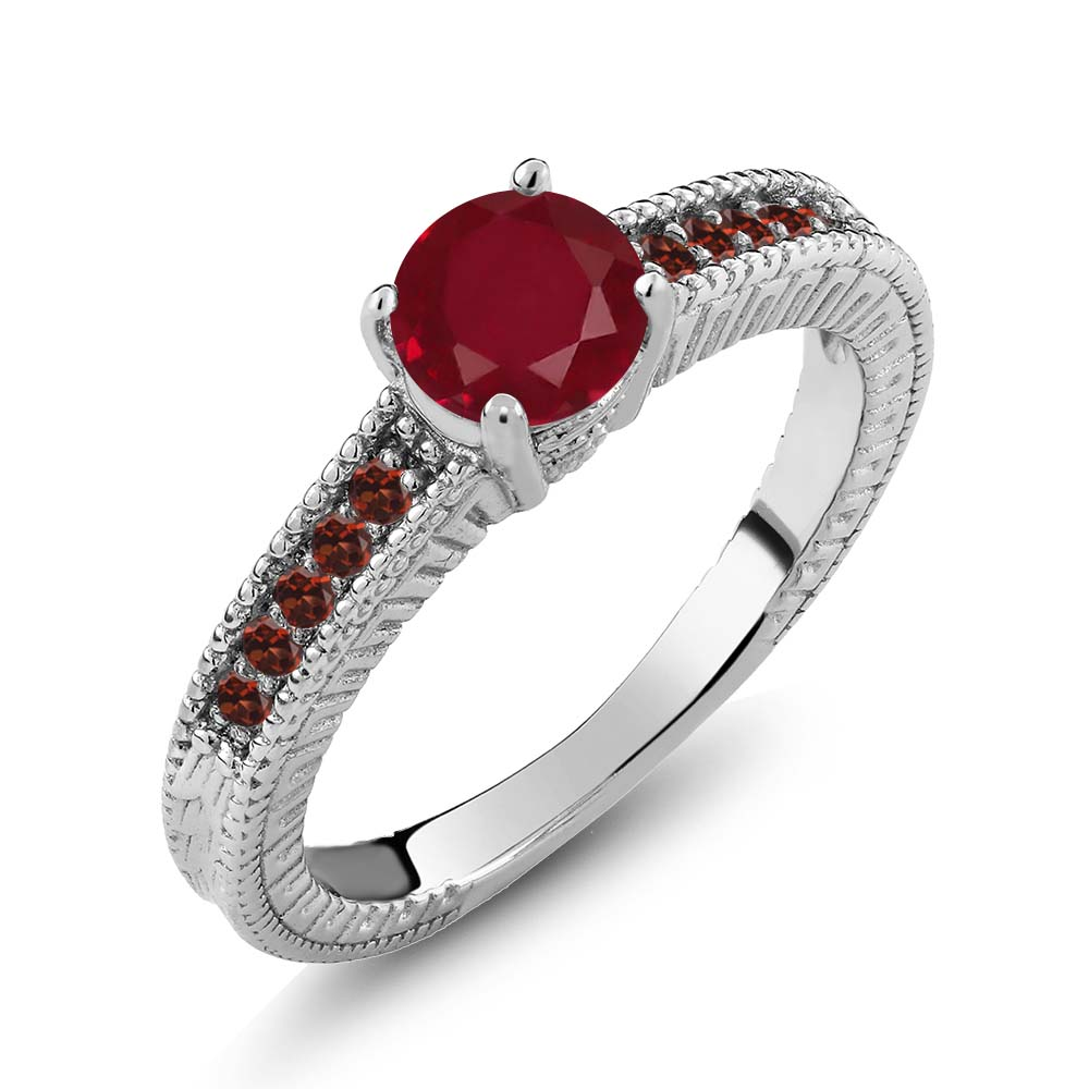 1.25 Ct Round Red Ruby Garnet 14K White Gold Engagement Ring