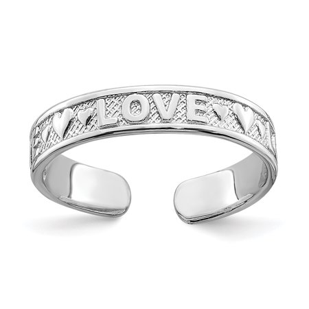 14k White Gold Love Hearts Adjustable Cute Toe Ring Set Fine Jewelry Gift For Women Heart 14k Love Toe Ring
