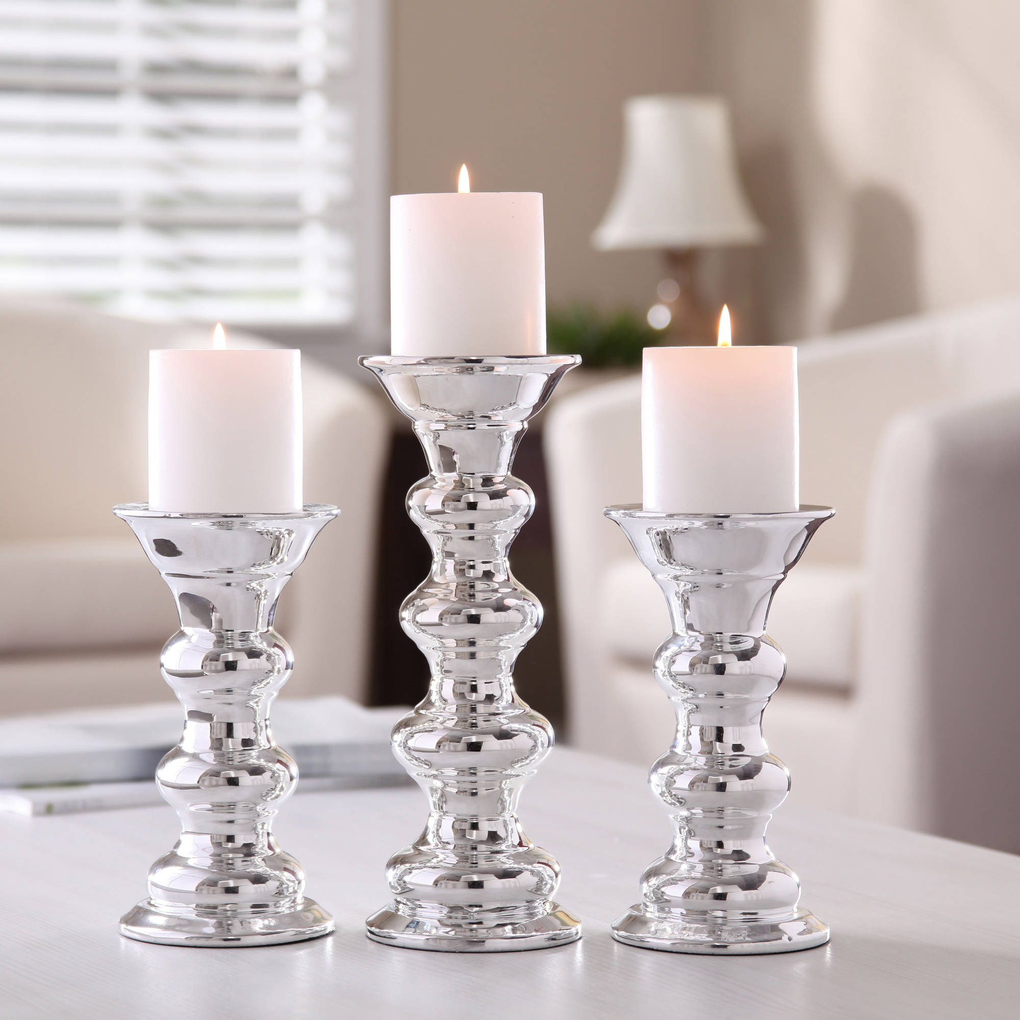 better homes and gardens ceramic metallic pillar candle holders set of 3 walmartcom - Candles Home Decor