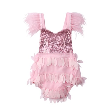 e81c4987b1a8c ZAXARRA - Sequins Newborn Baby Kids Girls Romper Jumpsuit Lace Outfits  Sunsuit One-pieces Pink 3-6 Months - Walmart.com