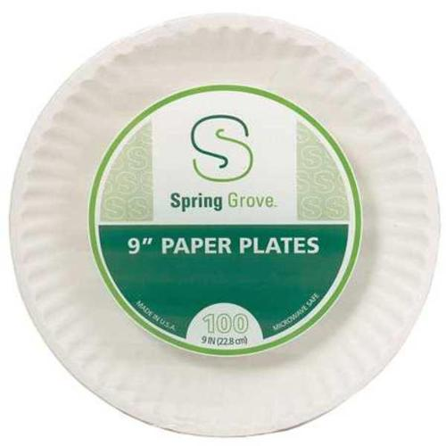 Disposable Plate, White ,Spring Grove, 421286