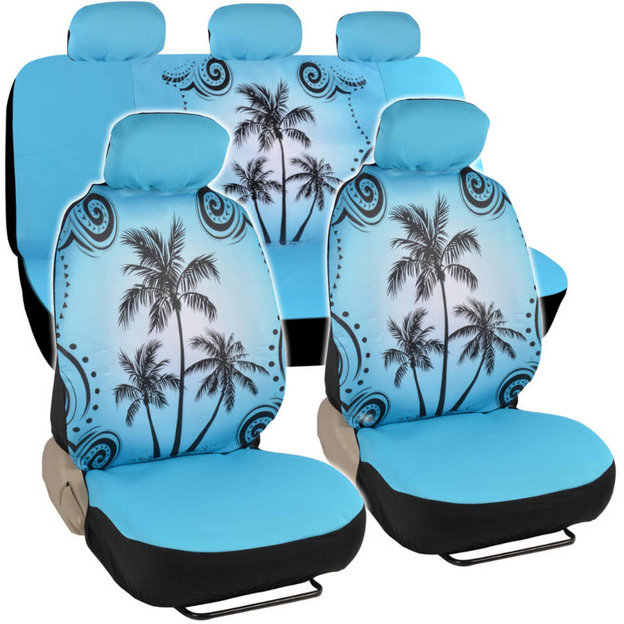 BDK Blue Palm Tree Design Seat Covers for Car and SUV, Universal Fit Car Auto Accessories