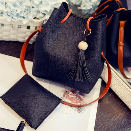 Drawstring Hobo Bag - Women Tassels Bucket Bag PU Drawstring Crossbody Bag Shoulder Bag with Detachable Wallet - Black
