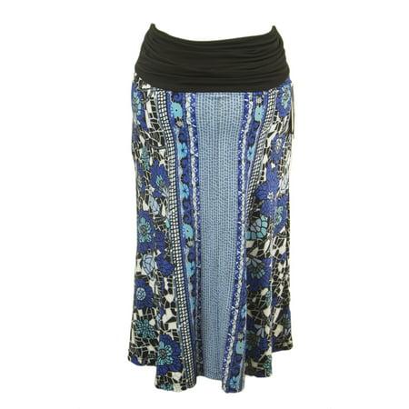 OLIAN Maternity Women's Blue Abstract Print A-Line Skirt