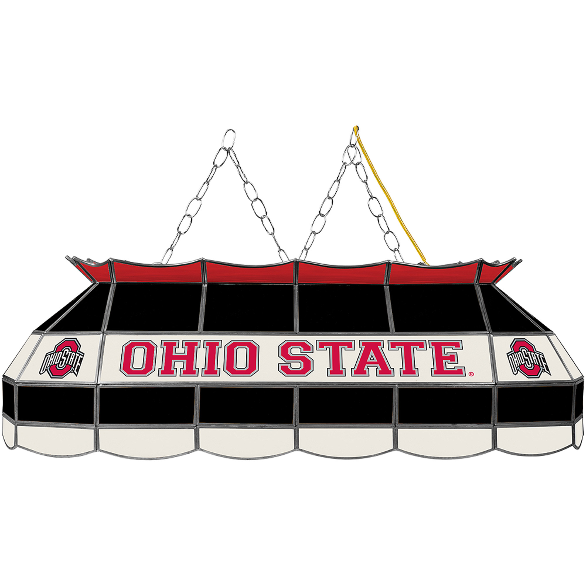 "Trademark Global The Ohio State, Black 40"" Stained Glass Billiard Table Light Fixture"