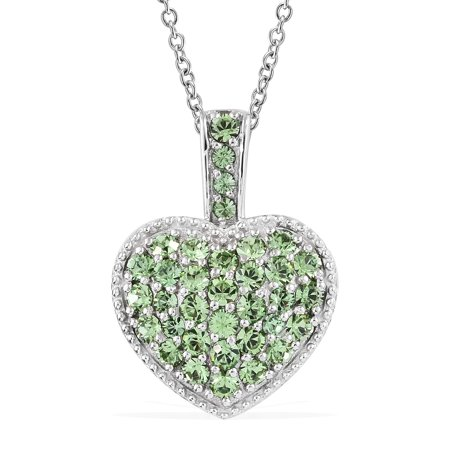 Mix Metal Made with SWAROVSKI Peridot Crystal Cluster Heart Valentines Pendant Necklace 20