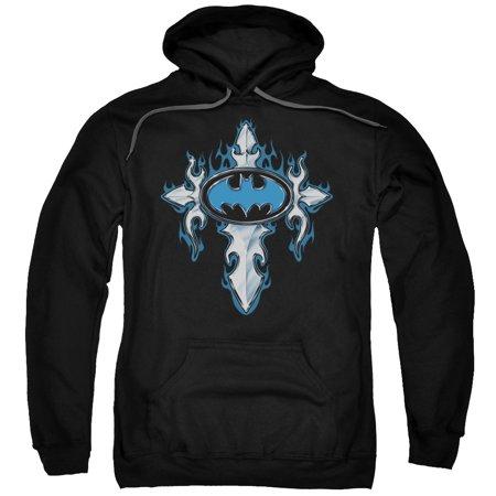 Batman Gothic Steel Logo Mens Pullover Hoodie (Mens Batman Hoodie)