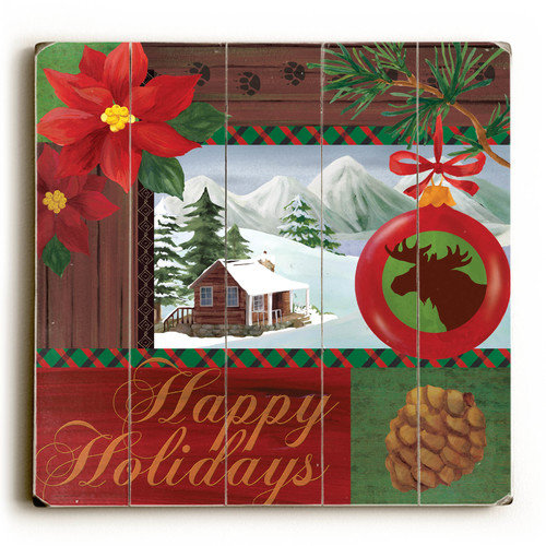 Artehouse LLC Happy Holidays Cabin Wooden Textual Art