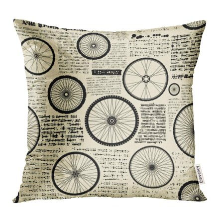 ARHOME Bicycle Pattern Imitation of Newspaper with Wheels Vintage Old Bike Collage Curve Pillowcase Cushion Cases 18x18 inch