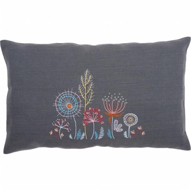 Stylized Flowers III Cushion Stamped Embroidery Kit - 20 x 12 in.