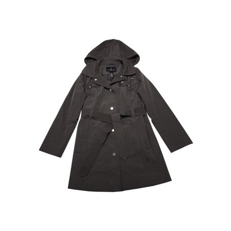 London Fog Womens Size Small Button Down Hooded Water Resistant Coat, Truffle