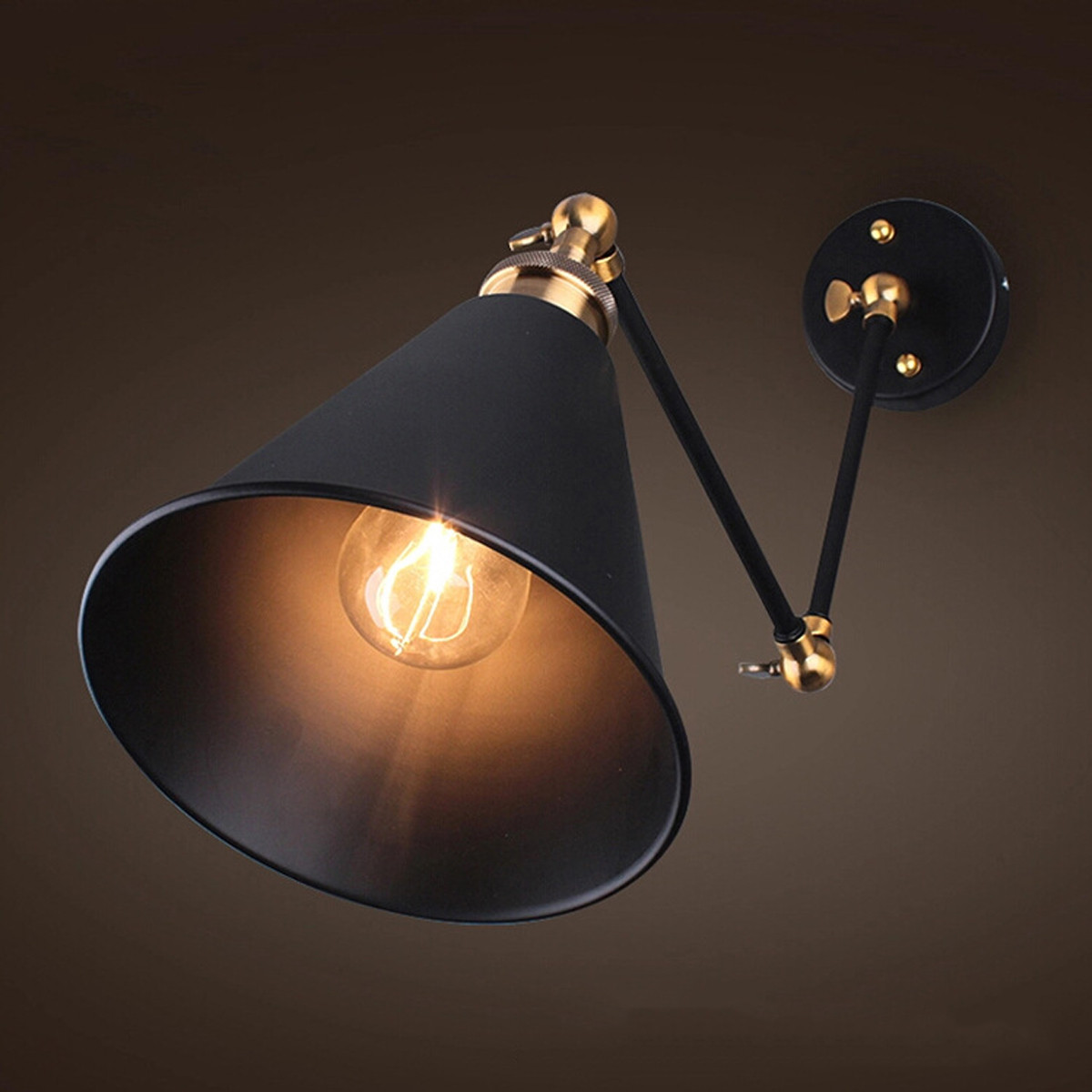 (No Fix) 270° Vintage Retro Industrial Swing Arm Sconce Wall Light Loft Lamp Metal Lampshade Fixture Fitting DIY