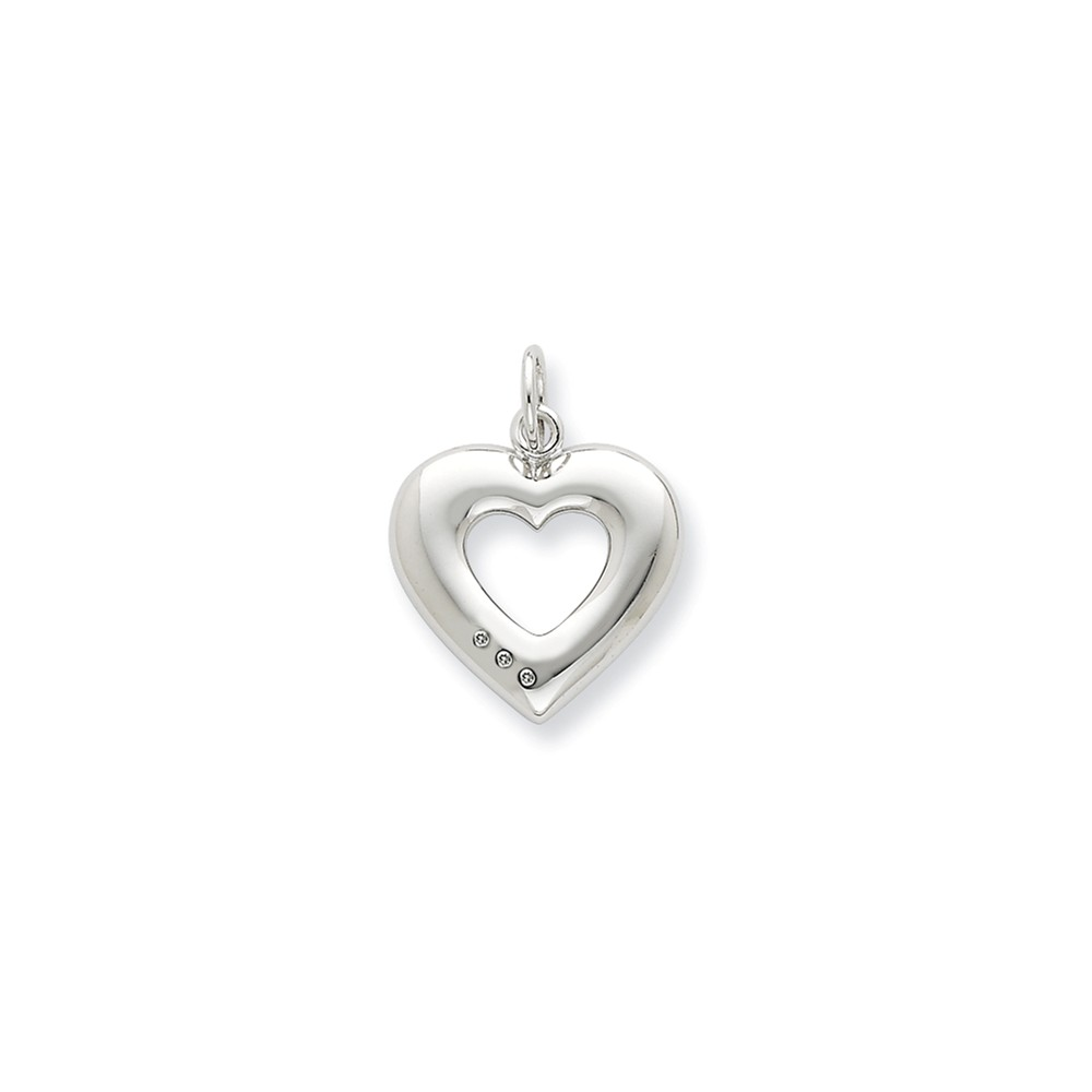 Silver Heart and Diamond accent Pendant