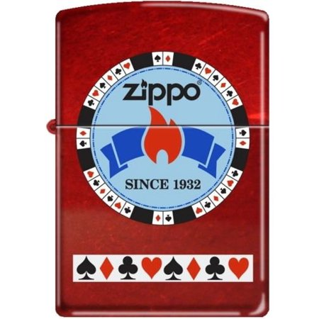 Zippo Candy Apple (Zippo Gentleman's Bet Poker Chip on Candy Apple Red Windproof Lighter )