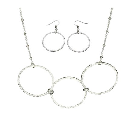 Sterling Silver Flat Hammered Circle Large Links Necklace Earrings (Italian Circle Link)