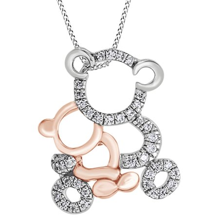 Round Cut White Cubic Zirconia Mom & Baby Teddy Bear Pendant Necklace In 14K White Gold Over Sterling Silver