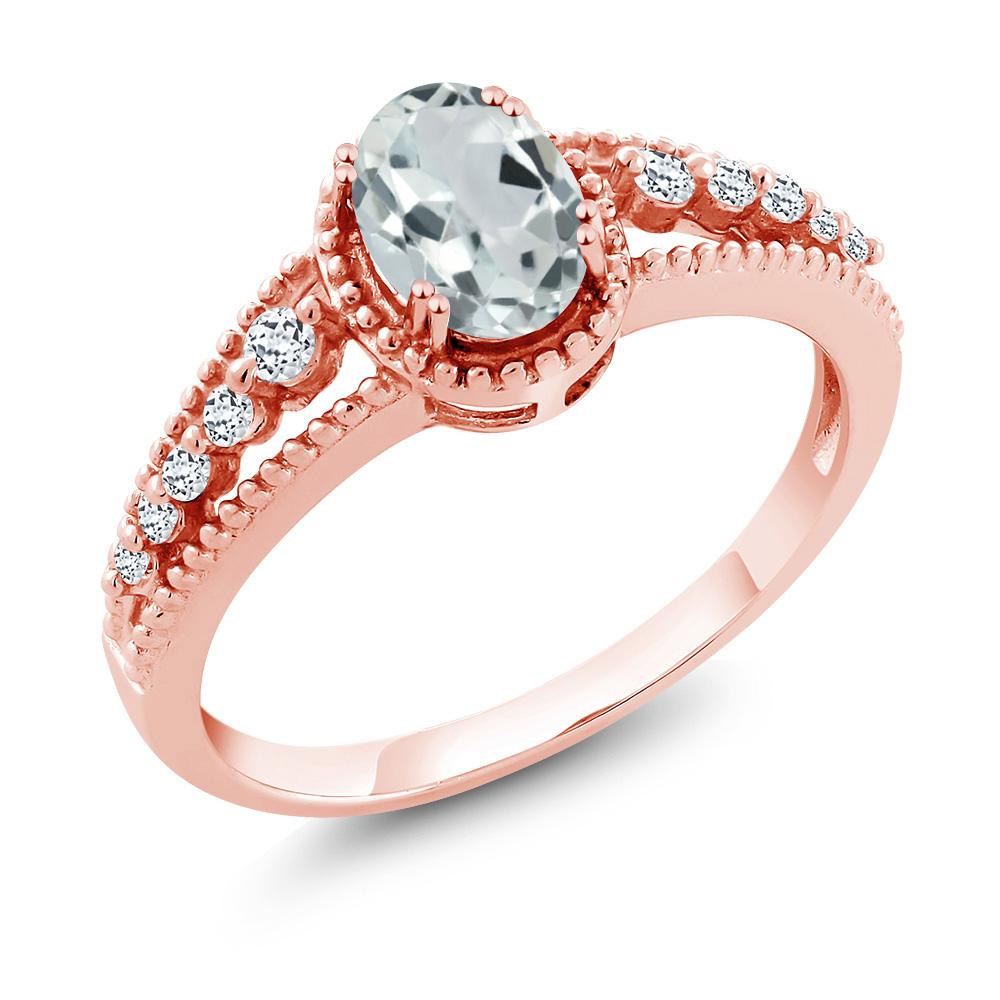 0.93 Ct Oval Sky Blue Aquamarine White Topaz 14K Rose Gold Ring by