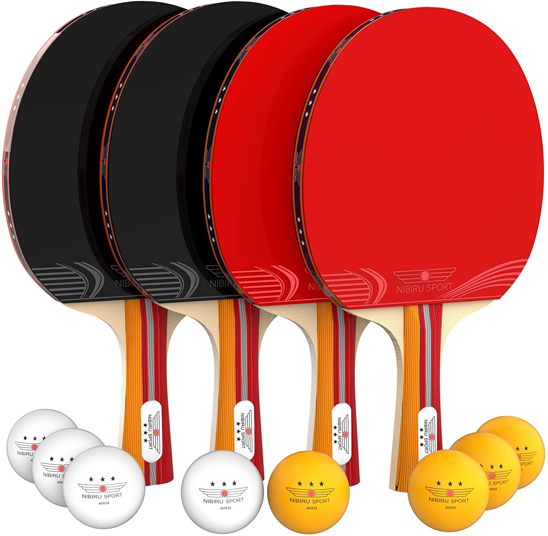 Ping Pong Paddles Table Tennis Set 4 Player Professional Racket Paddle 8 Balls