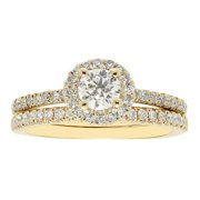 Sofia  14k Yellow Gold 1k H-I I1 TDW IGL Certified Round-cut Diamond Bridal Set