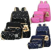 Women Bags Backpack Girl School 3PCS Shoulder Bag Rucksack Canvas Travel Bags