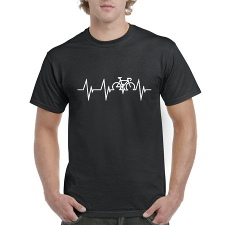 Novelty T-Shirt Bicycle Heartbeat  Mens Shirts