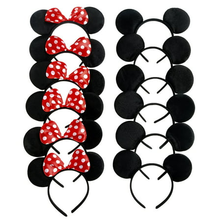 Mickey Mouse Ears, Solid Black, and Minnie Mouse Headbands, Red Polka Dots, 12 pc + FREE Temporary Body Tattoo! (Minnie Mouse Birthday Decorations)