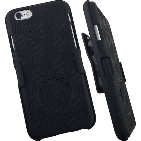 iPHONE 6 CLIP, BLACK KICKSTAND HARD SHELL CASE COVER + BELT CLIP HOLSTER FOR APPLE iPHONE 6 6s