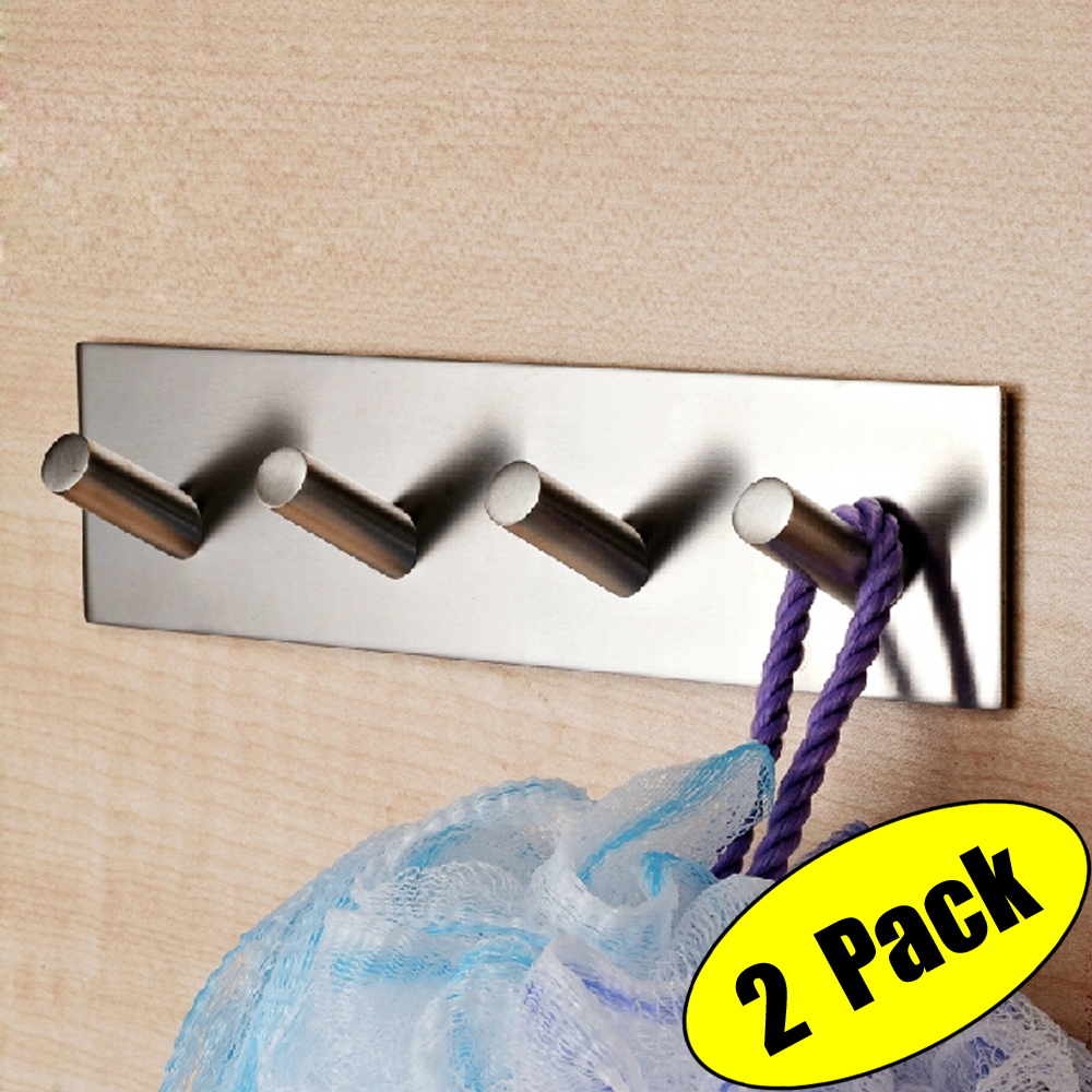 KES Bathroom Lavatory Self Adhesive Coat and Robe Hook Rack/Rail with 4 Hooks, Brushed Stainless Steel, 2 Pieces, A7063H4-P2