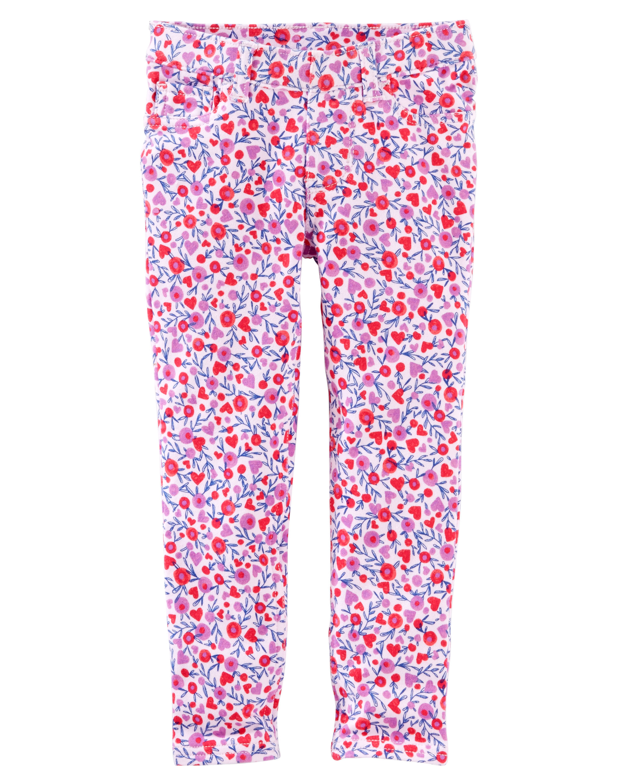 OshKosh B'gosh Baby Girls' Floral French Terry Jeggings, 9 Months