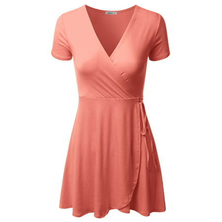 Doublju Women's A-Line Summer Short Sleeve Off The Shoulder Cocktail Skater Dresses CORAL XL - Light Pink Cocktail Dresses