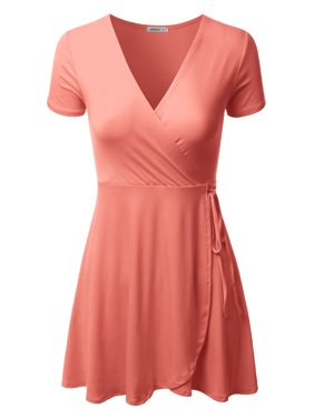 a4caaa42 Product Image Doublju Women's A-Line Summer Short Sleeve Off The Shoulder  Cocktail Skater Dresses CORAL XL