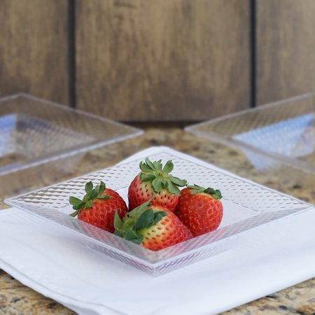 - Efavormart 50 Pcs - Clear Square Party Salad Snack And Fruit Disposable Plastic Bowl For Wedding Event - Honeycomb Collection