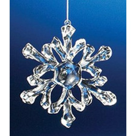 Club Pack of 36 Icy Crystal Decorative Small Snowflake Ornaments 3.5