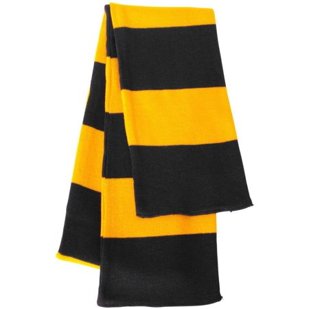 Sportsman - Rugby Striped Knit Scarf, Black Gold