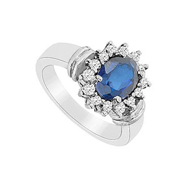 FineJewelryVault UBUK11897W10CZS-118 Diffuse Sapphire and Cubic Zirconia Ring : 10K White Gold - 3. 25 CT TGW - Size: 7