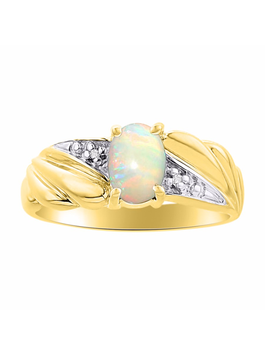 Diamond & Opal Ring Set In Yellow Gold Plated Silver Color Stone Birthstone by