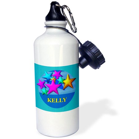 3dRose Vibrant colored stars on a blue background personalized with the name KELLY, Sports Water Bottle, 21oz