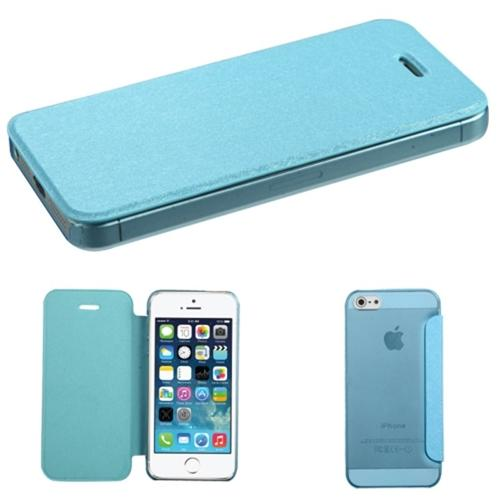 INSTEN Blue Silk Texture MyJacket Leather Case with Frosted Tray For Apple iPhone 5 5s