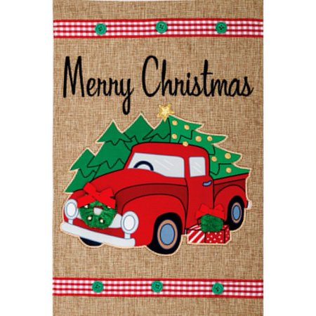 Custom Decor Burlap Garden Flag - Christmas Truck