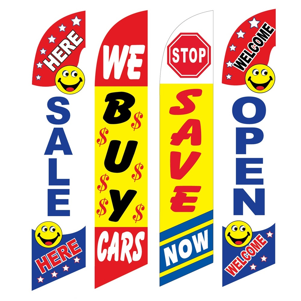 4 Advertising Swooper Flags Sale Here We Buy Cars Save Now Welcome Open