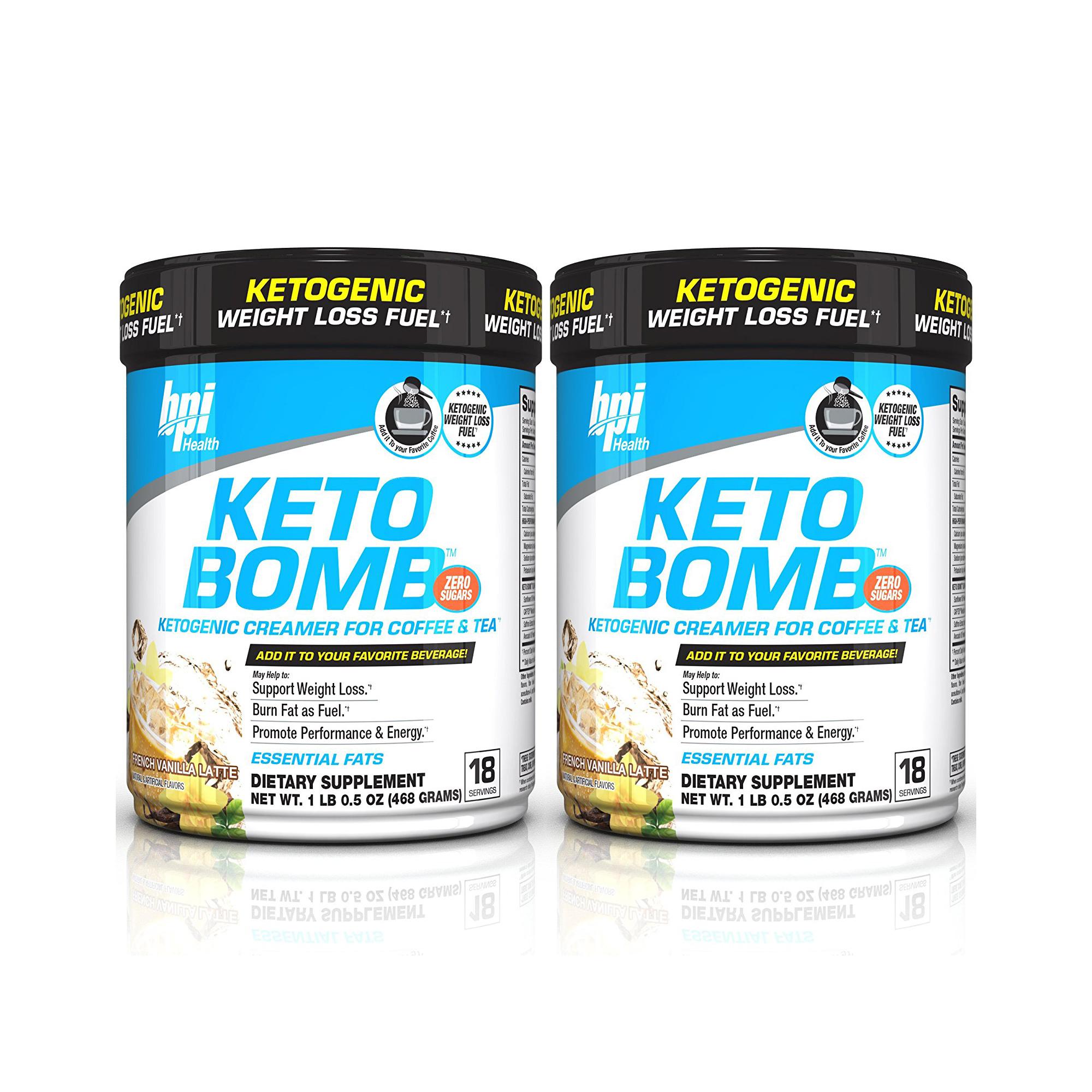 BPI Sports Health Keto Bomb Ketogenic French Vanilla Latte, 18 Servings (Pack of 2)