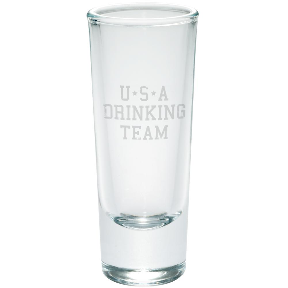 4th of July USA Drinking Team Etched Shot Glass Shooter by